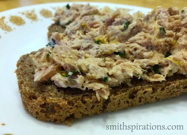 Tuna Salad with Dandelion Sandwiches