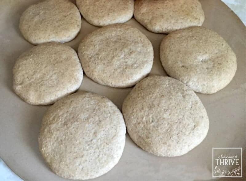 hamburger buns after rising