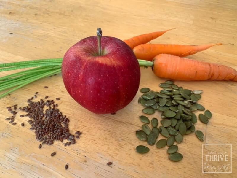 Morning Glory Sourdough Muffin ingredients: apple, carrot, flax seeds, pumpkin seeds