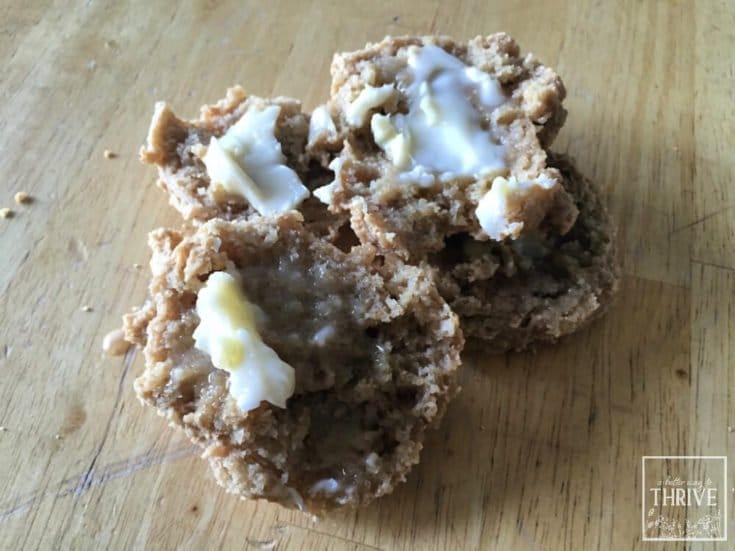 Split sourdough drop biscuit with butter
