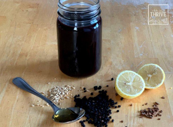 elderberries, lemon, ginger, cinnamon, and honey with syrup