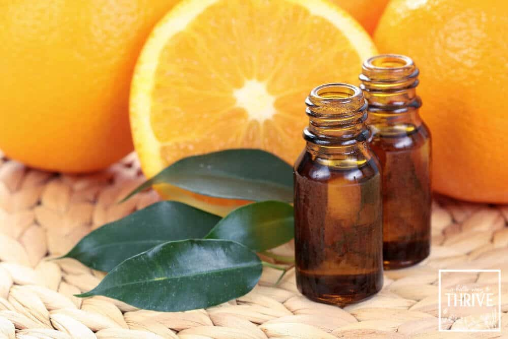 orange essential oil bottles